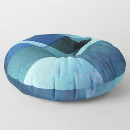 Vivid Blue Shapes - Digital Geometric Texture Floor Pillow