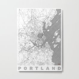 Portland Maine Map Line Metal Print