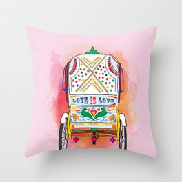 Indian Rickshaw Art 'Love is Love' Throw Pillow