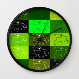 Green tree frog pattern, drawings of frogs, in green, for stickers, frog stickers, Wall Clock
