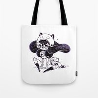 bee and puppycat Tote Bags featuring Bee and Puppy by Yoii