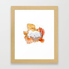 Cat and Golden Fishes Framed Art Print