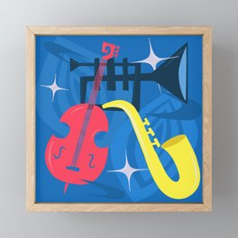 Jazz Composition With Bass, Saxophone And Trumpet Framed Mini Art Print