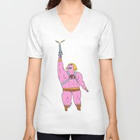 he man V-neck T-shirts featuring He-man by Graphic Airlines