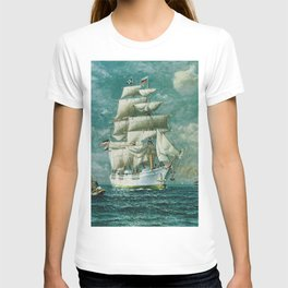Vintage Large White Sailboat Painting (1895) T-shirt