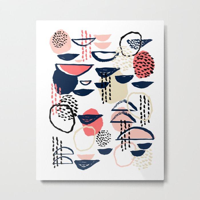 Cheli - modern abstract art print brushstroke painting trendy hipster peach pink pastel navy abstrac Metal Print