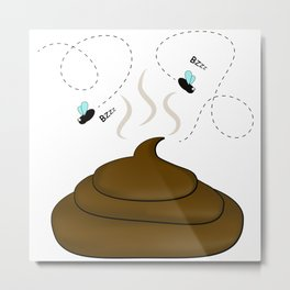 Smelly poop with flies illustration Metal Print