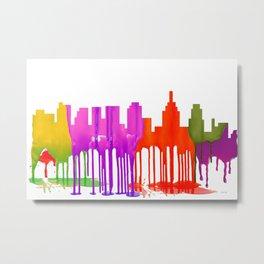 Philadelphia, Pennsylvania Skyline Puddles Metal Print