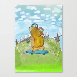 bear on skateboard Canvas Print
