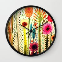 rose Wall Clocks featuring printemps by sylvie demers