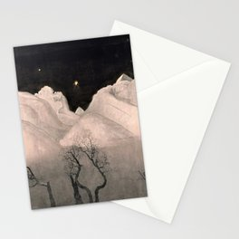 Stars and Heavens in the Heights of the Snow-capped Alpine Mountains by Harald Sohlberg Stationery Cards