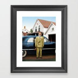 Mr. Fox posing with his new car Framed Art Print