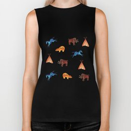 Tribal Indian Art and Teepee Pattern Biker Tank