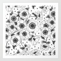 oana befort Art Prints featuring Anemone by Oana Befort