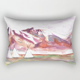 Three Jewels Watercolor Painting of Three Tipis Rectangular Pillow