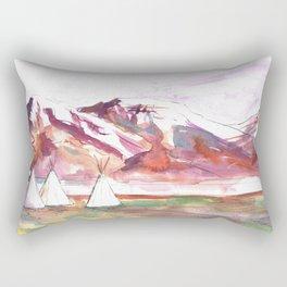 Three Jewels Watercolor Painting of Three Tipis Rectangular Pillow