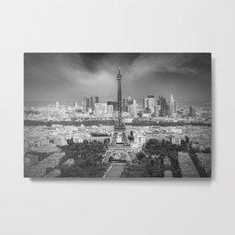 Paris Skyline   Monochrome Panorama Metal Print