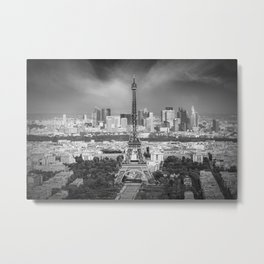 Paris Skyline | Monochrome Panorama Metal Print