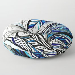 Black & Blue Lines Inspired By Ocean Floor Pillow