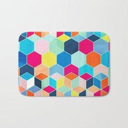 Super Bright Color Fun Hexagon Pattern Bath Mat