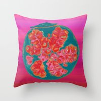 pomegranate Throw Pillows featuring Pomegranate by bravo la fourmi