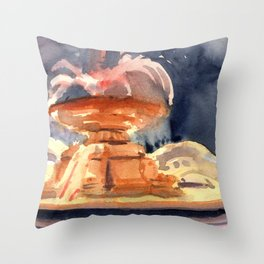 Bryant Park Fountain at Night Throw Pillow