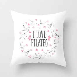 Pilates poses in shape of a circle Throw Pillow