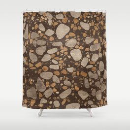 Terrazzo - Mosaic - Wooden texture and gold #3 Shower Curtain