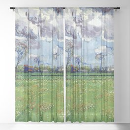 Landscape under a Stormy Sky by Vincent van Gogh - Vintage Painting Sheer Curtain