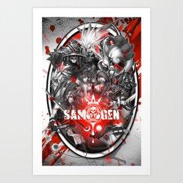 Samurai Genji Collage Art Print