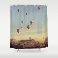 hot air balloons Shower Curtains featuring Cappadocian Hot Air Balloons by lizzy gray kitchens