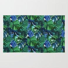 Palm Leaf Blue Green Rug
