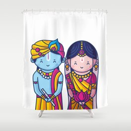 Cute Radha Krishna Shower Curtain