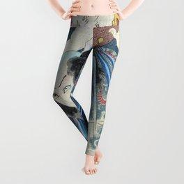 Japanese Kunisada Tattoo Warrior Print Leggings