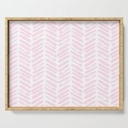 Handpainted Chevron pattern light pink stripes Serving Tray