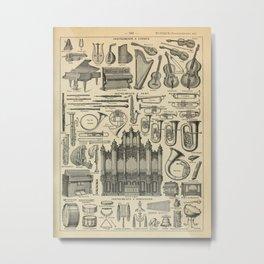 String Instruments Vintage Scientific Illustration French Language Encyclopedia Lithographs Educatio Metal Print
