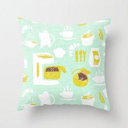 Pastel Café Mint Throw Pillow