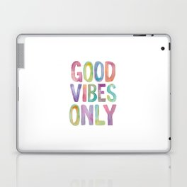 Good Vibes Only Watercolor Rainbow Typography Poster Inspirational childrens room nursery Laptop & iPad Skin