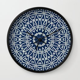 Mandala Bohemia Mosaic Navy Grey Wall Clock