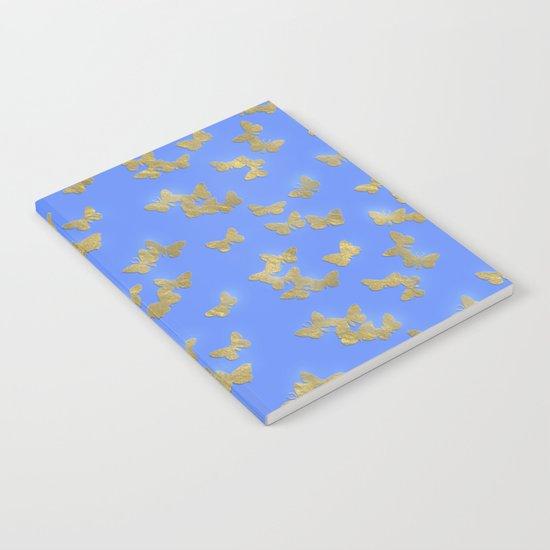 Golden butterflies on blue backround- Beautiful pattern Notebook