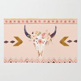 Bull Head Skull Boho Flowers Rug