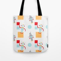 robots Tote Bags featuring Robots by Samantha Eynon