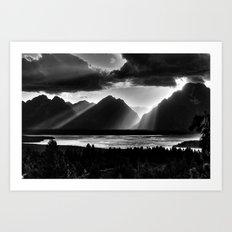 Grand Teton Light Beams Art Print