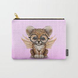 Cute Leopard Cub Fairy Wearing Glasses Pink Carry-All Pouch