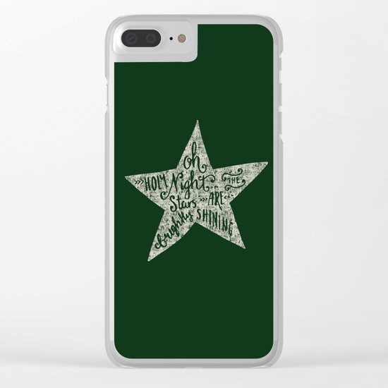 Oh holy night- Merry christmas- Illustration Star with Typography on festive green Clear iPhone Case