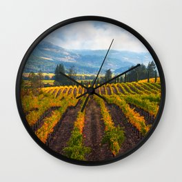 Autumn Vineyard Vista Wall Clock