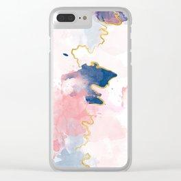 Kintsugi Pastel Marble #kintsugi #gold #japan #marble #pink #blue #home #decor #kirovair Clear iPhone Case
