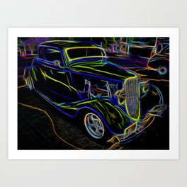 1930s Ford Coupe Neon Abstract Art Print