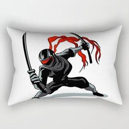 cartoon ninja in action Rectangular Pillow