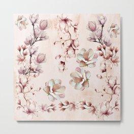 Watercolor Pink Magnolia Blossoms Metal Print